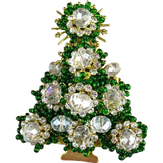 Stanley Hagler Emerald Green Glass Beads Clear Beads Clear Rhinestones Christmas Tree Pin/Brooch