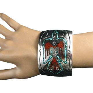 Navajo Sterling Silver Turquoise Coral Chip Inlay Peyote Bird Wide Cuff Bracelet