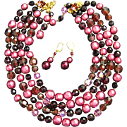 Vintage DeMario Four Strand Baroque Pearls Crystals Deep Red Mauve Pink Necklace and earrings