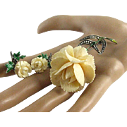 Alice Caviness Signed Sterling Silver Germany Marcasite Green Enamel Celluloid Flower Brooch and Earring Demi Set