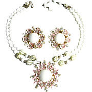 Vintage Signed Robert Pink Enamel Flowers Clear Rhinestones Milk Glass Necklace and Earrings Set