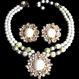 Vintage Signed Robert Pink Enamel Flowers Clear Rhinestones Milk Glass Necklace and Earrings Set