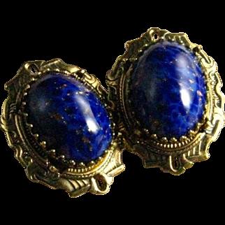 Vintage Robert Blue Lapis Cabochon Gold Plate Clip Back Earrings
