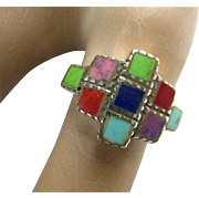 Vintage Sterling Native American ZUNI Turquoise Coral Multiple Stone Inlay Ring