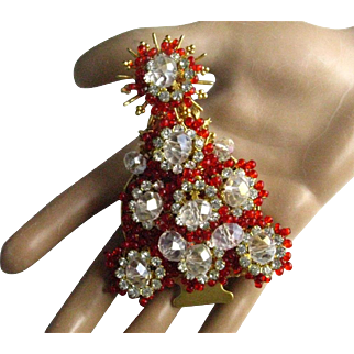 Vintage Stanley Hagler Red and Clear Glass Bead Clear Rhinestones Christmas Tree Brooch/Pin