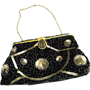 Vintage Black Velvet Evening Purse Made in France
