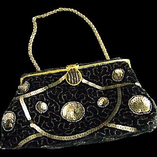 Vintage Black Velvet Evening Purse Made in France