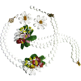 Miriam Haskell Hand Wired Seed Bead Flowers Milk Glass Necklace Bracelet Earrings Parure