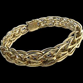 14K Gold Quad Link Etched Fancy Link Bracelet Charm Bracelet