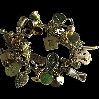 Rare 1940's 14K Gold Vintage Charm Bracelet Mechanical Charms | 30 charms