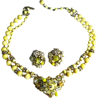 Signed Robert Vintage Yellow Glass Beads Clear Rose Montees Two Strand Necklace and Earring Set