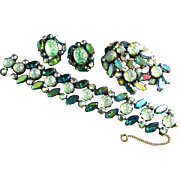Vintage Schiaparelli Green Molded Moon Rock Irridescent Rhinestone Bracelet Brooch and Earring Parure