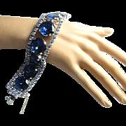 Vintage Sapphire Blue Large Rhinestone Bracelet