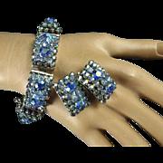 1950's Big Bold Light Blue and Aurora Borealis Rhinestone Bracelet and Earrings