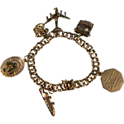 1960's 14K Gold Charm Bracelet with Six 14K Charms Merry Christmas Mechanical Charms 32.9 Grams