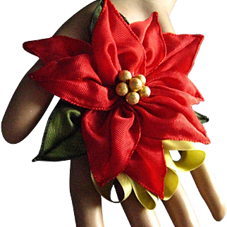 Artisan Poinsettia Wired Ribbon Christmas Red Green Antique Gold Color Rayon Ribbon Gold Stardust Beads Brooch Pin