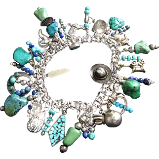SOUTHWESTERN Styled Sterling Silver & Turquoise Charm Bracelet with 43 Charms