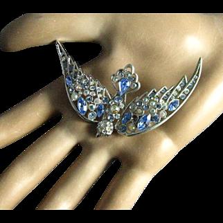 Vintage Nolan Miller Light Blue and Aurora Borealis Rhinestone Bird Brooch