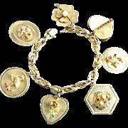 Vintage 14K Yellow Gold Charm Bracelet   7 Big Jeweled Charms   50 Grams