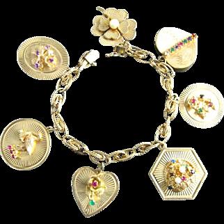 Vintage 14K Yellow Gold Charm Bracelet | 7 Big Jeweled Charms | 50 Grams
