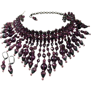 Hand Made Vintage Deep Purple Glass Beaded Choker Necklace