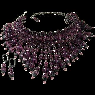 Hand Made Vintage Deep Purple Glass Beaded Choker Necklace