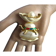 Hattie Carnegie Enamel and Imitation Pearl Turtle Pin/Pendant
