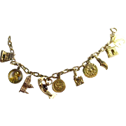 Vintage 14K Yellow Gold RARE International Charm Bracelet | 10 charms | 37.5 Grams