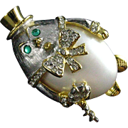 Vintage Kenneth Jay Lane signed KJL 1970's Humpty Dumpty Clear Rhinestone Faux Pearl Brooch