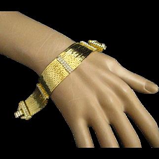 Nolan Miller Star Luster Clear Rhinestone Multi Strand Gold Plated Slinky Bracelet
