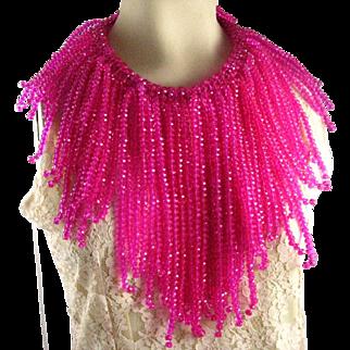 Vintage Artisan Made Fuchsia Pink Crystal Glass Bead Huge Fringe Statement Necklace