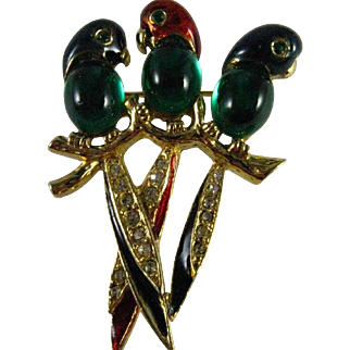 Vintage Emerald Green Glass and Enamel Jelly Belly Three Parrots Sitting on a Branch Brooch