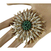 Vintage Alfred Phillip Trifari Large Emerald Green and Clear Rhinestone Gold Tone Chrysanthemum Brooch