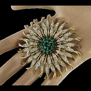 Vintage Alfred Phillip Trifari Large Emerald Green and Clear Rhinestone Gold Tone Chrysanthemum Brooch