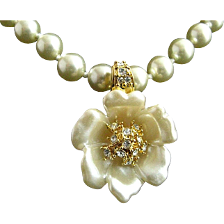 Nolan Miller 1990's Carved Faux Pearl Flower Enhancer/Pendant on Faux Pearl Necklace