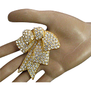 Vintage Nolan Miller Crystal Pave Clear Rhinestone 18K Gold Plated Three Dimensional Ribbon Bow Brooch
