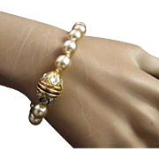 Vintage Nolan Miller Creamy Pale Beige Faux Pearl Bracelet with Clear Swarovski Crystal Accents