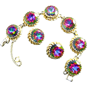Schiaparelli Watermelon Bracelet and Earring Demi Set in Gold Tone Metal