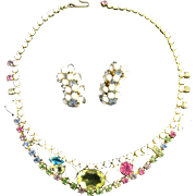 White Milkglass and Pastel Crystal Rhinestone Choker Necklace and Earrings Set in Gold Tone Metal