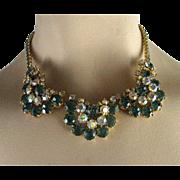 Vintage High End Designer Blue and Aurora Borealis Tiered Rhinestone Necklace/Choker