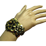 Joseff of Hollywood Double CAMELLIA FLOWER Antiqued Gold Tone Cuff Bracelet