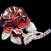 Vintage Nolan Miller First Lady Nancy Reagan Red Rose Rhinestone Red Enamel Pin