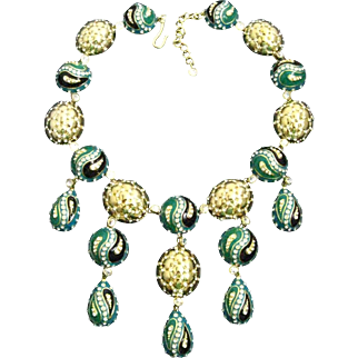 Hutton Wilkinson 18K Gold Plated Blue Green Black Enamel Bib Drop Dangle Statement Necklace