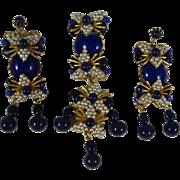 "Vintage Stanley Hagler Lapis Blue and Faux Pearl 4"" Dangle Drop Brooch and 3"" Dangle Drop Earrings"