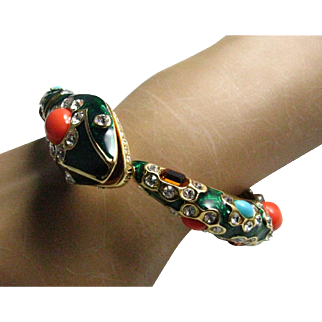1970's signed KJL for Kenneth Jay Lane Snake Cuff Clamper Faux Turquoise and Coral Snake Bracelet