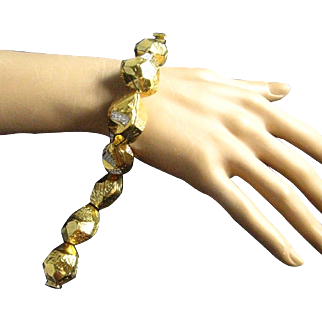 Hutton Wilkinson 18K Gold Plated Large Nuggets with Clear Pave Set Rhinestones Bracelet