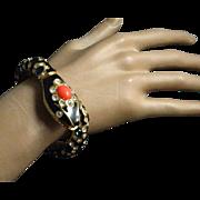 1970's signed Kenneth Jay Lane Black Jeweled Snake Cuff Clamper Snake Bracelet