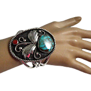 Native American Indian Navajo Sterling Silver Turquoise Coral Wide Cuff Bracelet