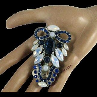 Art Deco 1920's Blue Rhinestone Glass Opals Pot Metal Dress Clip Brooch