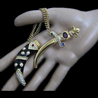 Trifari Limited Edition Black Enamel Rhinestone Dagger Sword Chatelaine Brooch Pin